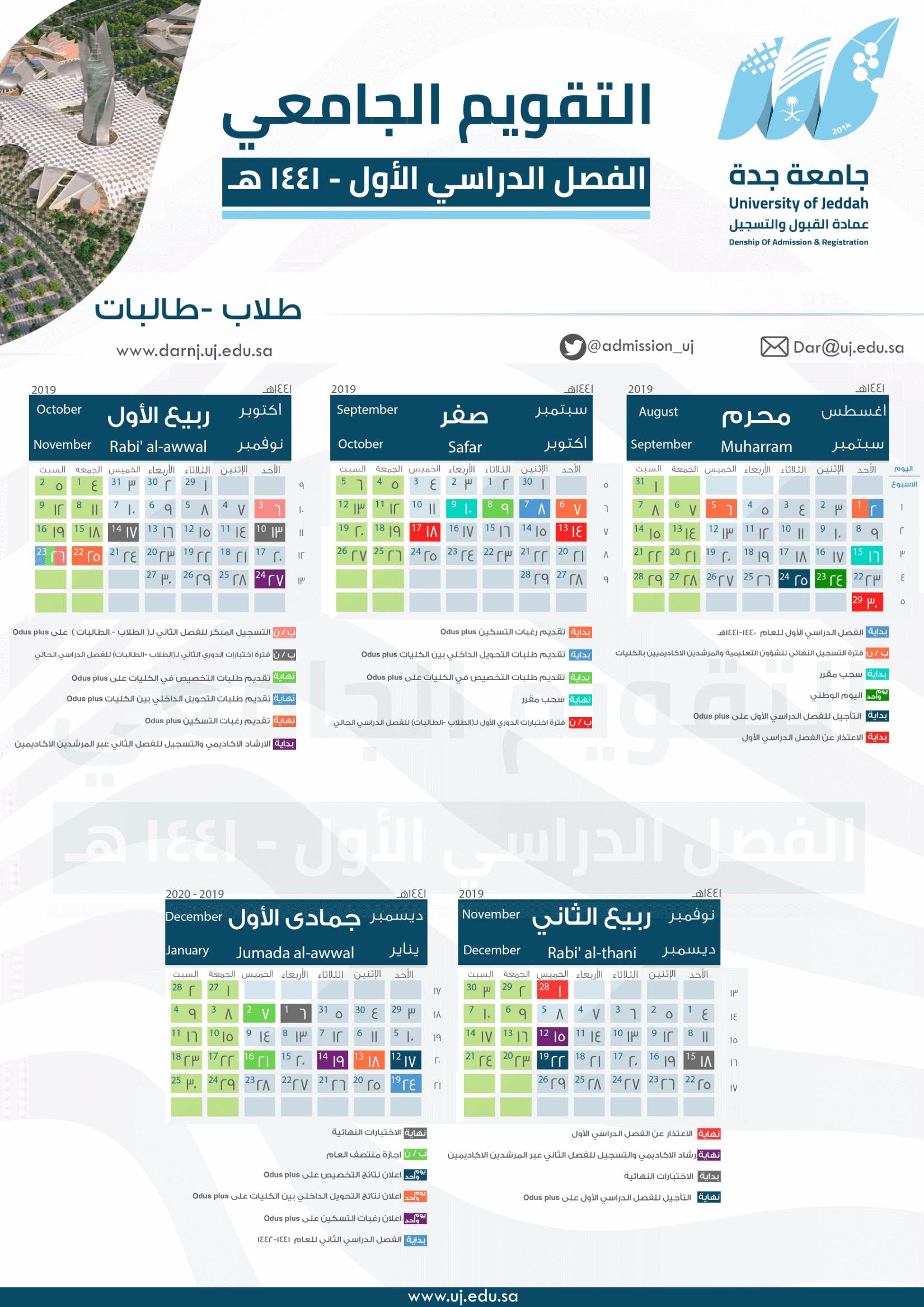 جامعة جدة التقويم الجامعي للفصل الدراسي الأول ١٤٤١هــ